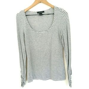 White House Black Market Stripe Long Sleeve Tee